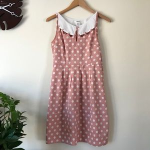 Esley Blush & White Polka-dot Dress with Cut Outs